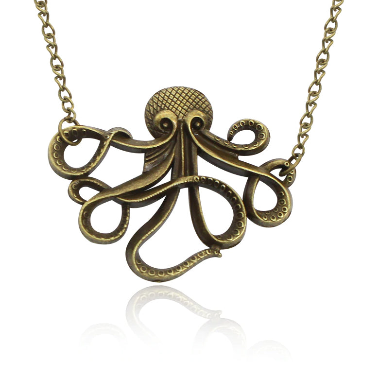 Antiqued Octopus Necklace