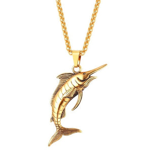 Stainless Steel Marlin Deluxe Necklace
