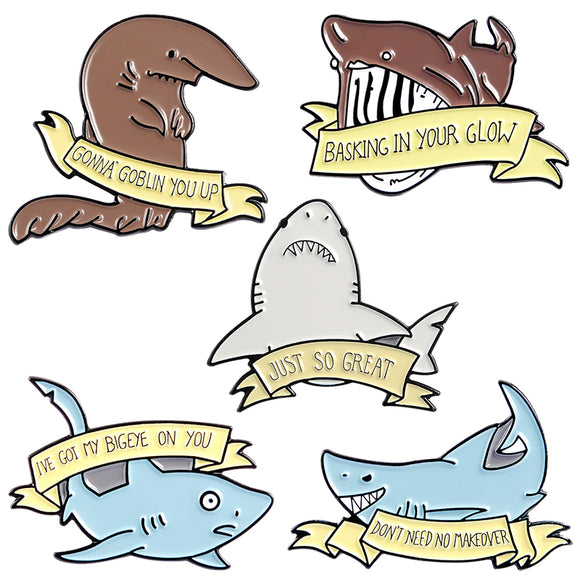 New! Shark Pun Enamel Pins