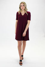 MARIE-EVE DRESS BURGUNDY