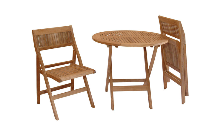 Anderson Teak Windsor 3 Pieces Folding Outdoor Bistro Set-Anderson Teak-Happy Home Bars