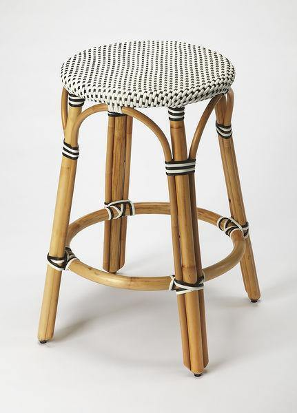 Butler Specialty Black and White Rattan Counter Stool-Butler Specialty-Happy Home Bars