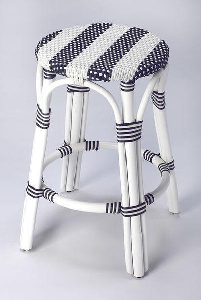 Butler Specialty Blue and White Rattan Counter Stool-Butler Specialty-Happy Home Bars