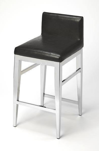 Butler Specialty Kelsey Stainless Steel Faux Leather Counter Stool-Butler Specialty-Happy Home Bars