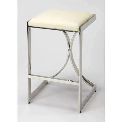 Butler Specialty Natalya Silver Counter Height Stool-Butler Specialty-Happy Home Bars