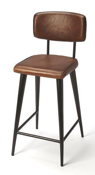 Butler Specialty Saddle Brown Leather Counter Stool-Butler Specialty-Happy Home Bars