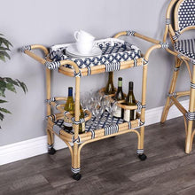Butler Specialty Selena Blue and White Ratten Mobile Bar Cart-Butler Specialty-Happy Home Bars