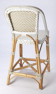 Butler Specialty Solstice White & Tan Rattan Counter Stool-Butler Specialty-Happy Home Bars