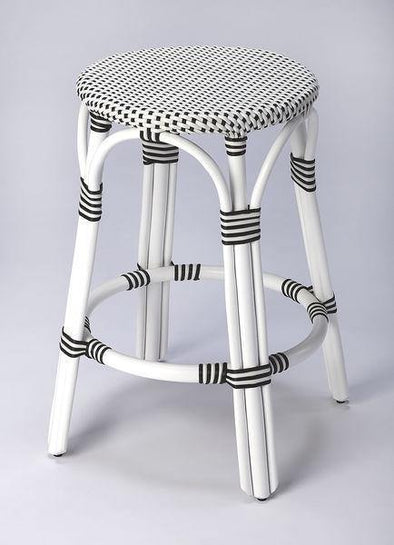 Butler Specialty White and Black Rattan Counter Stool-Butler Specialty-Happy Home Bars