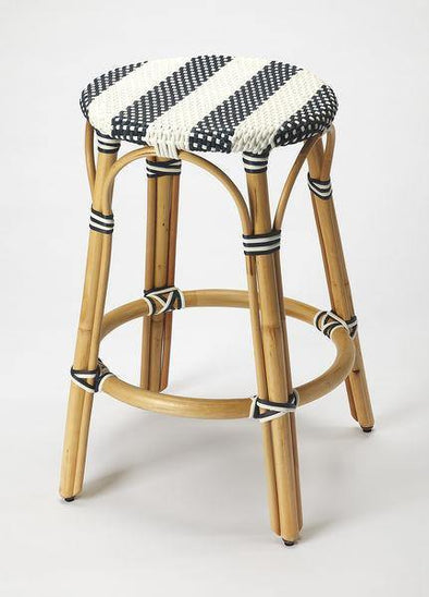 Butler Specialty White & Blue Rattan Counter Stool-Butler Specialty-Happy Home Bars