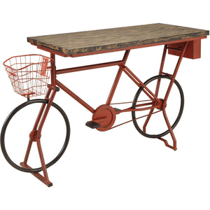 Furniture of America Blaney red bicycle bar table-Furniture of America-Happy Home Bars