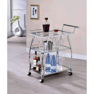 Furniture of America Chrome Castillo bar Cart-Furniture of America-Happy Home Bars