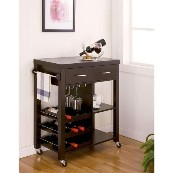 Furniture of America Halsey Wine Rack Cart-Furniture of America-Happy Home Bars