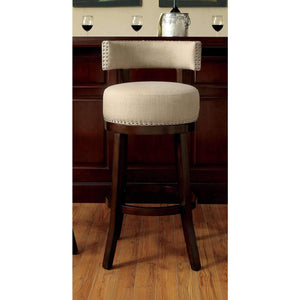 "Furniture of America Martin 24"" Pub Chair Biege-Furniture of America-Happy Home Bars"