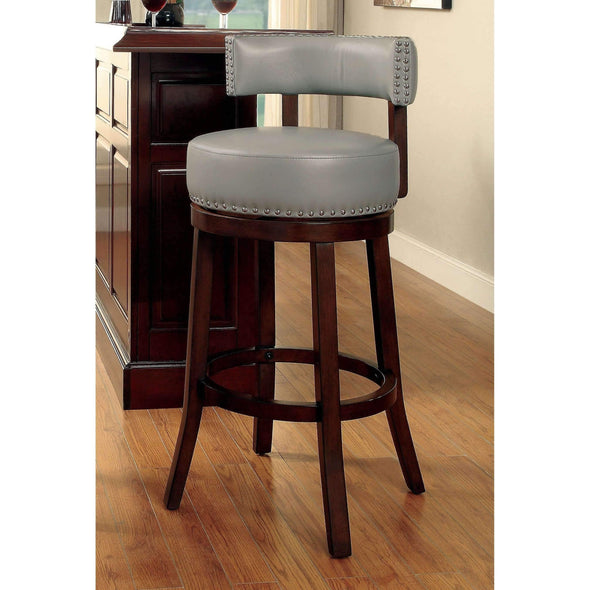 "Furniture of America Roos 24"" gray swivel barstool (set of 2)-Furniture of America-Happy Home Bars"