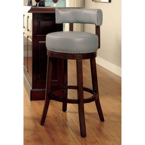 "Furniture of America Roos 29"" gray swivel barstool (set of 2)-Furniture of America-Happy Home Bars"
