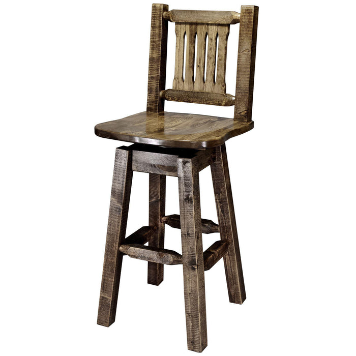 Montana Woodworks Homestead Stain & Clear Lacquer Swivel Barstool-Montana Woodworks-Happy Home Bars