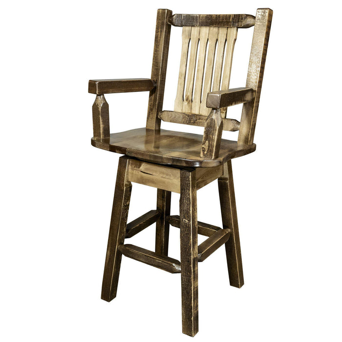 Montana Woodworks Homestead Stain & Lacquer Swivel Captain's Bar Stool-Montana Woodworks-Happy Home Bars