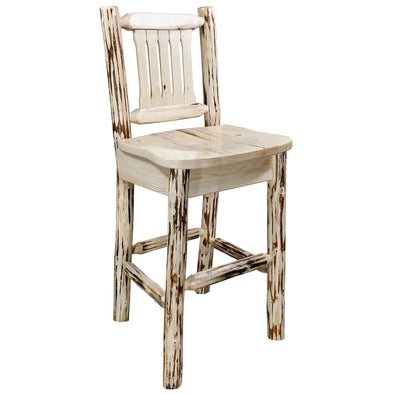 Montana Woodworks Montana Ergonomic Wooden Bar Stool w/ Back-Montana Woodworks-Happy Home Bars