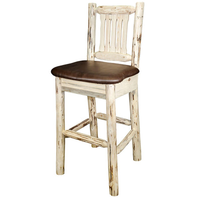 Montana Woodworks Montana Saddle Upholstery Bar Stool w/ Back-Montana Woodworks-Happy Home Bars