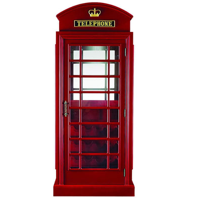 Ram Game Room Old English Telephone Booth Bar Cabinet | Red-Ram Game Room-Happy Home Bars