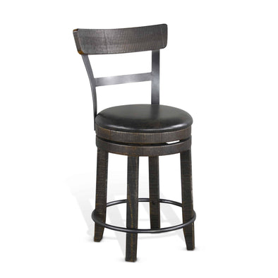 "Sunny Designs Tuscany 24"" Swivel with Back Bar Stool (Set of 2)-Sunny Designs-Happy Home Bars"