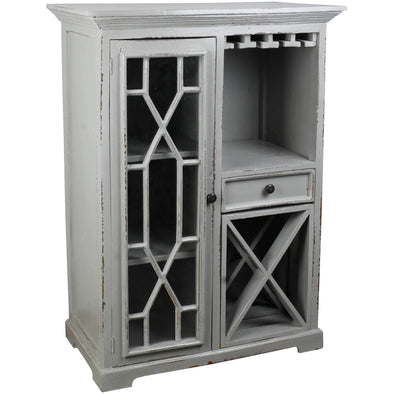 Sunset Trading Antique Gray Cottage Wine Cabinet-Sunset Trading-Happy Home Bars