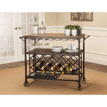Sunset Trading Rustic Elm Industrial Wine Cart-Sunset Trading-Happy Home Bars