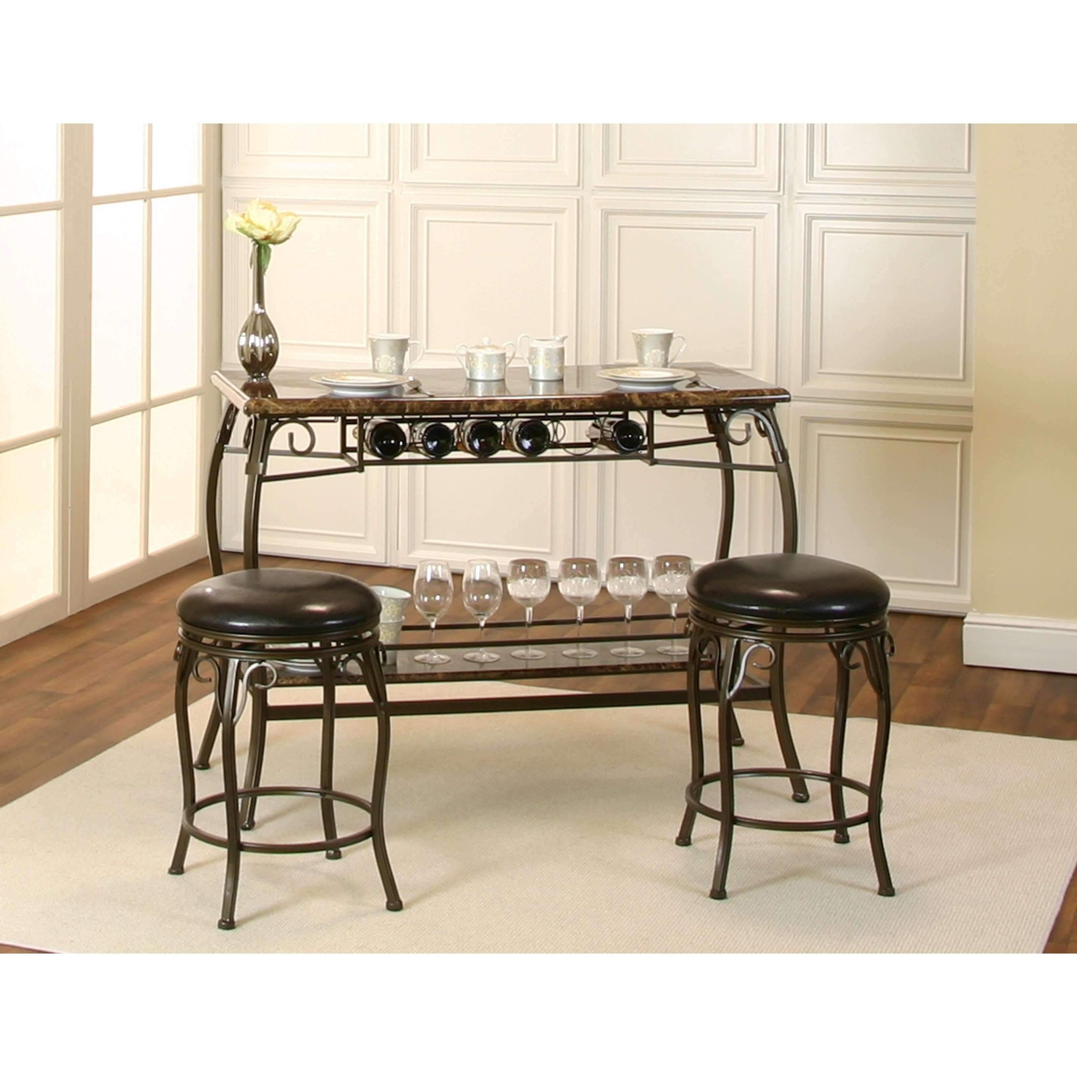 Sunset Trading Tiffany Bar with Built-In Wine Rack-Sunset Trading-Happy Home Bars