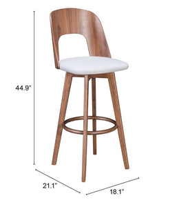 Zuo Modern Anton Bar Stool Walnut & Light Gray (Set of 2)-Zuo Modern-Happy Home Bars