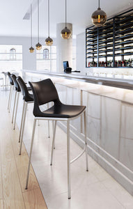 Zuo Modern Black Ace Armless Bar Stool-Zuo Modern-Happy Home Bars