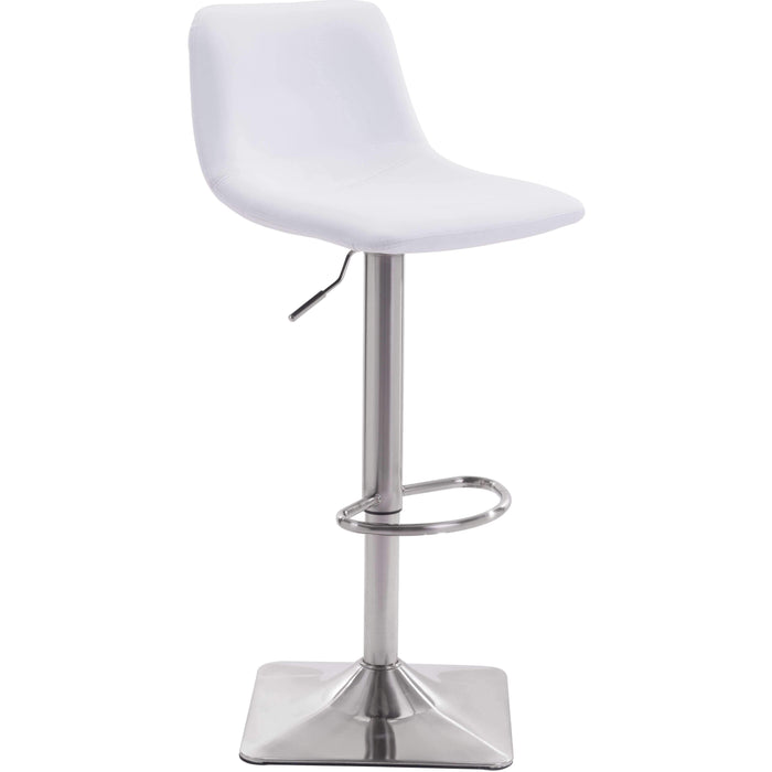 Zuo Modern Cougar Adjustable White Bar Stool-Zuo Modern-Happy Home Bars
