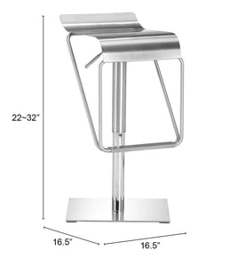 Zuo Modern Dazzer Adjustable Stainless Steel Bar Stool-Zuo Modern-Happy Home Bars