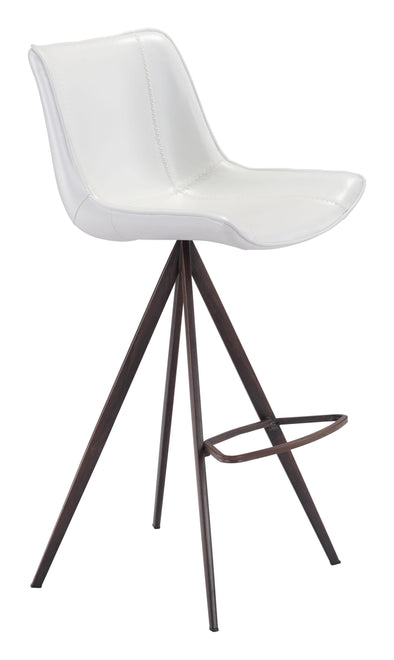 Zuo Modern White & Walnut Aki Bar Stool (Set of 2)-Zuo Modern-Happy Home Bars