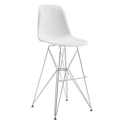 Zuo Modern White Zip Bar Stool-Zuo Modern-Happy Home Bars