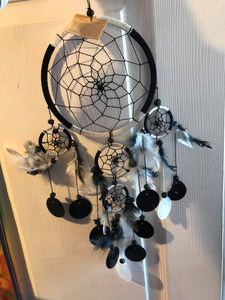 "6"" Black and Whit Dream Catcher with feathers, Capis Shells and beads"