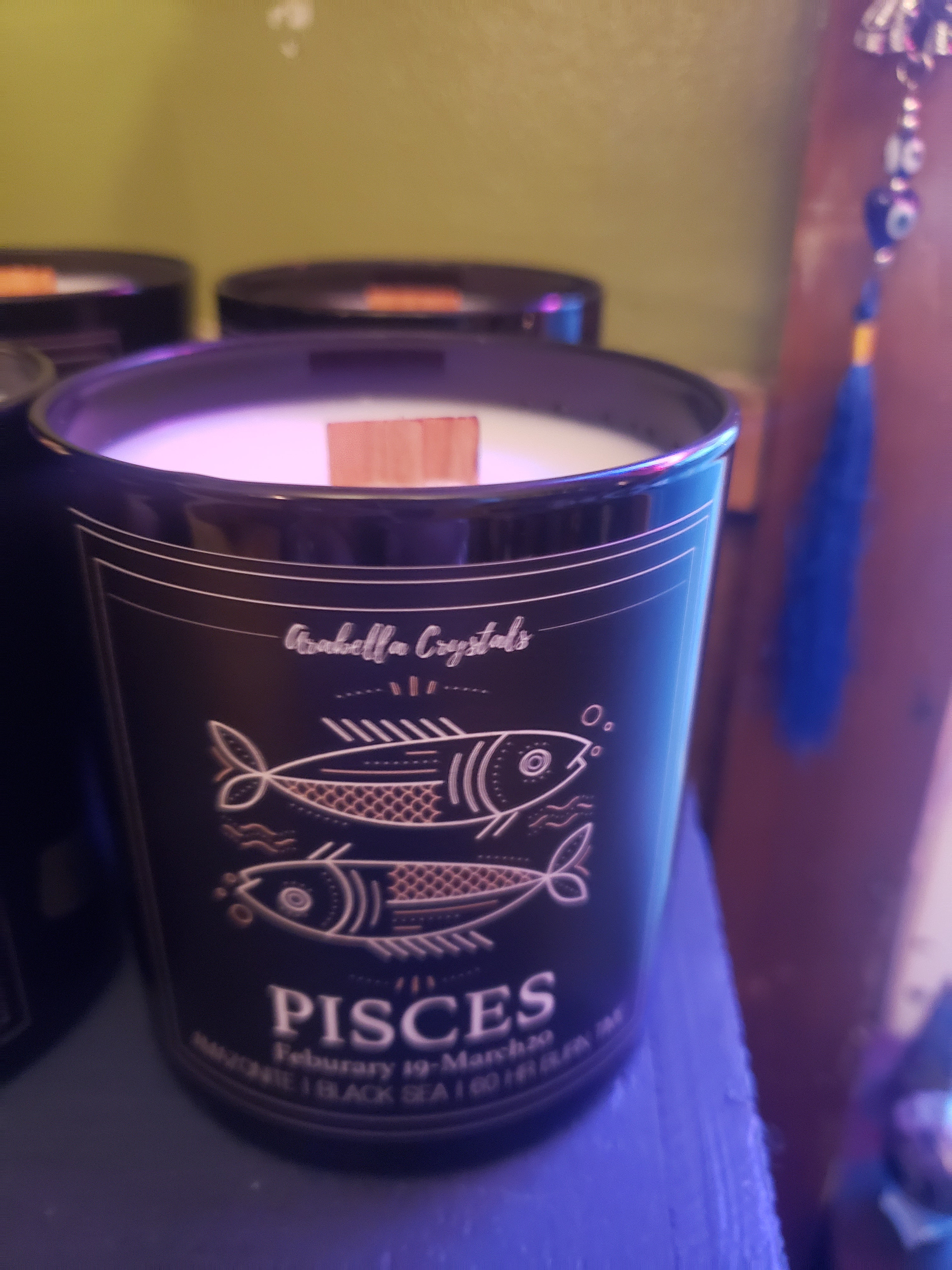 Hand-Poured Wood Wicked Zodiac Candles ( with hidden crystals inside) !