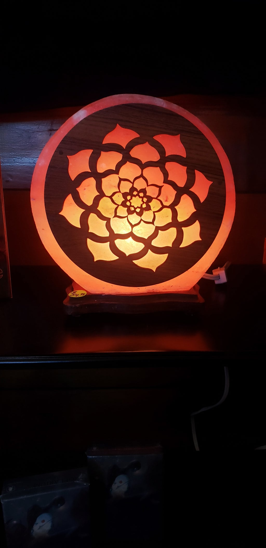Large Electric Salt Lamps on Wood Base