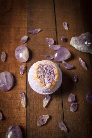 Good Juu Juu crystal inspired subscription box Maiden Bathh Company Amethystos Bath Bomb
