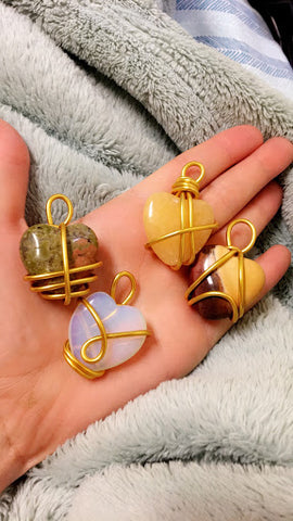 Art by Jac by Jacaqueline O'Hara  Handmade Wired Wrapped Crystal Hearts featured in Good Juu Juu Holiday Series.
