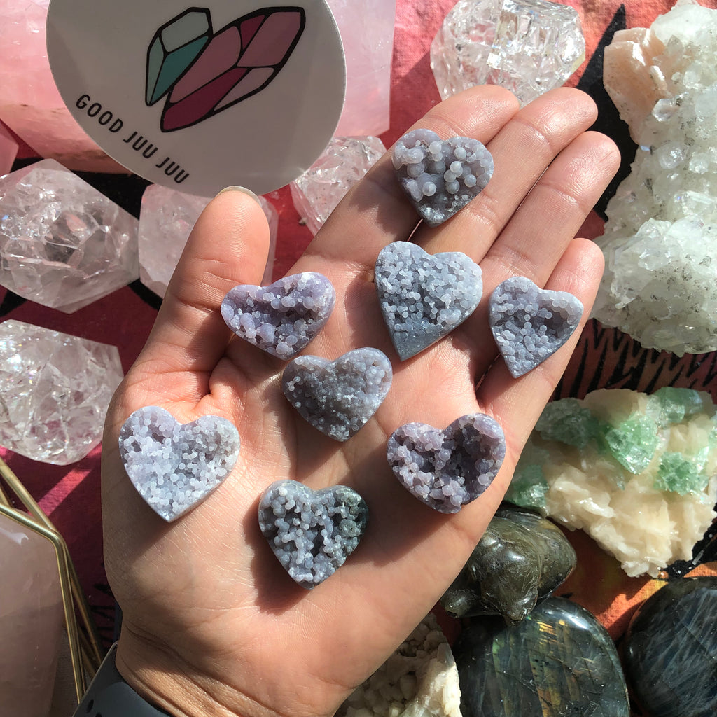 Grape Agate Hearts