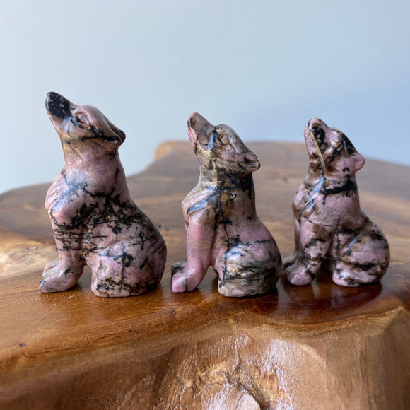 Rhodonite Wolf Carving