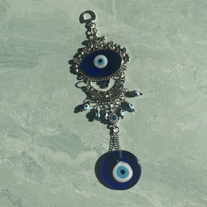 Floral Moon Evil Eye Wall Hanging
