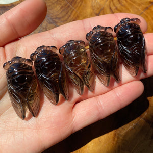 Smoky Quartz Cicada