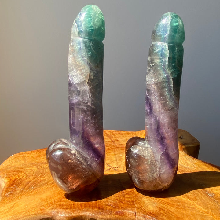 Rainbow Fluorite Crystal Phallus 7 Inches