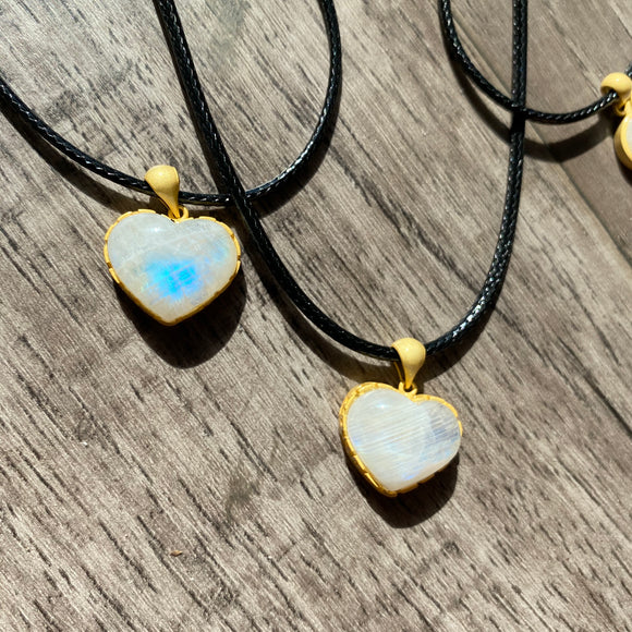 Rainbow Moonstone Heart Necklace