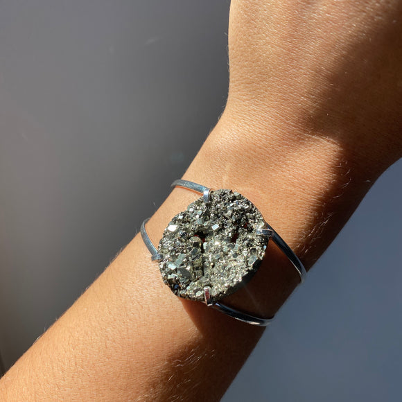 Pyrite Adjustable Bangle Bracelet