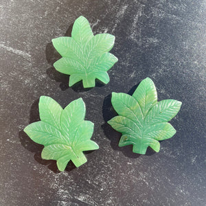 Green Aventurine Cannabis Leaf