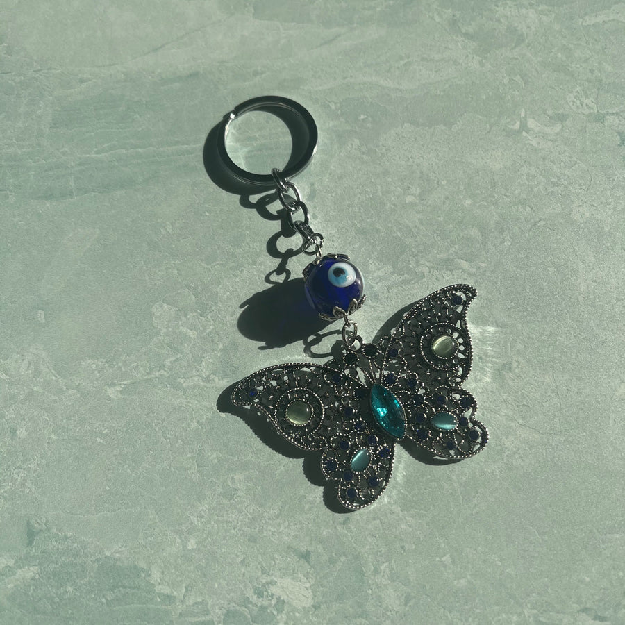 Butterfly Evil Eye Keychain