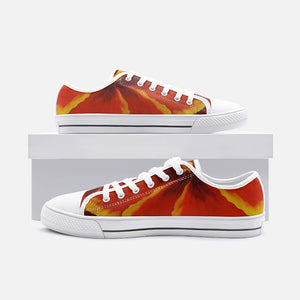 Red Hibiscus Low Top Canvas Shoes